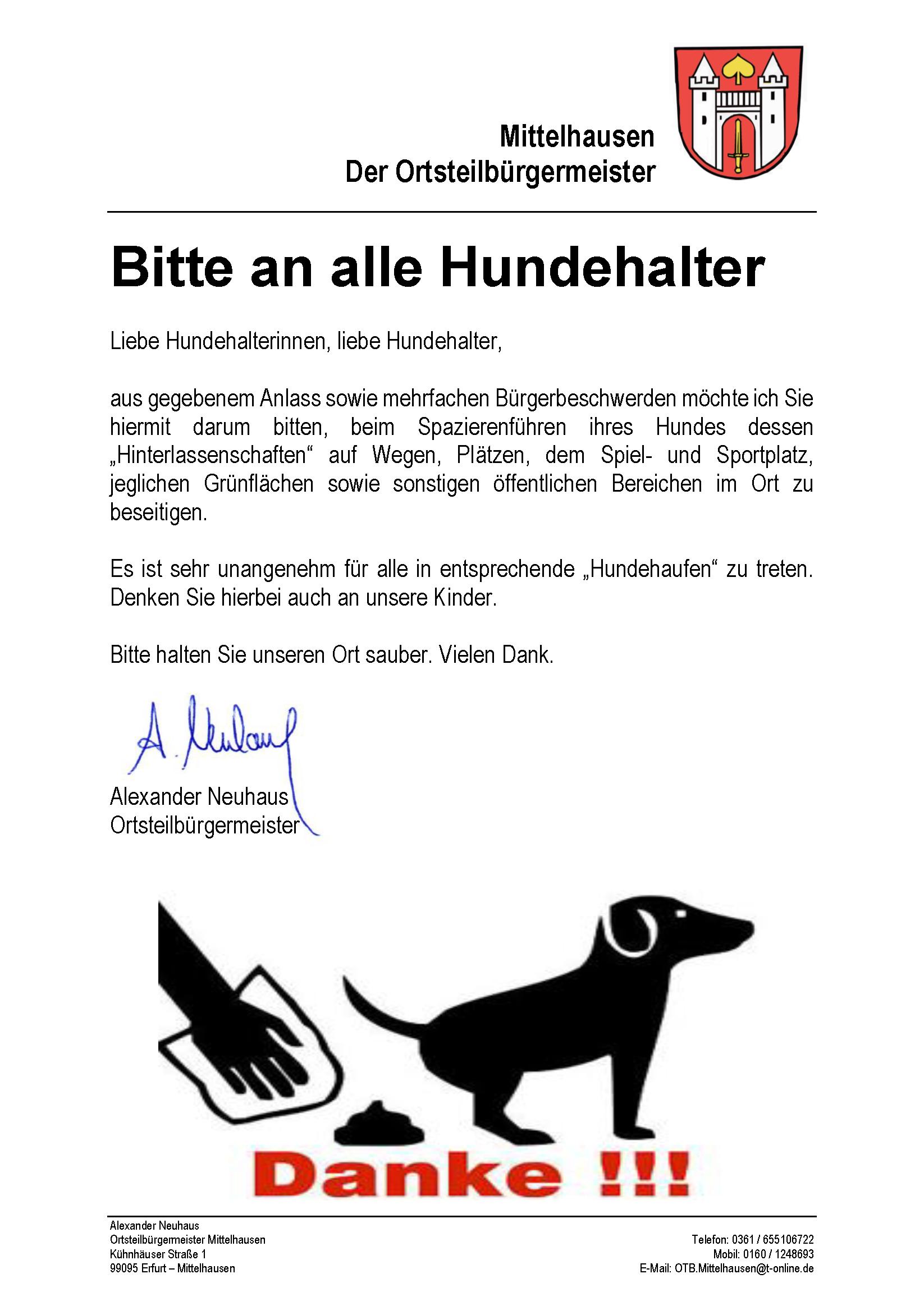 Bitte an alle Hundehalter